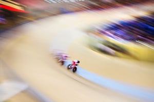 Team Poland in action during the men's team pursuit qualification during the 2019 European Games at the Minsk arena velodrome.