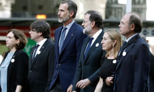 Spain's political establishment united for the rally with (left to right): Barcelona mayor Ada Colau, Catalonian president Carles Puigdemont, King Felipe VI, Spanish prime minister Mariano Rajoy, and presidents of the Spanish parliament, Ana Pastor, and senate, Pio Garcia Escudero.