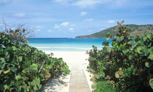 Flamenco Beach nestles in a horseshoe cove on Culebra Island, Puerto Rico.