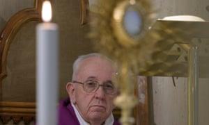 Pope Francis celebrating Mass in Santa Marta church, Vatican City, on 6 April 2020