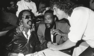 'I identify with showbiz types because I am on a par with them and understand their needs': Stevie Wonder, left, and Marvin Gaye, centre, at Stringfellows, 1981.