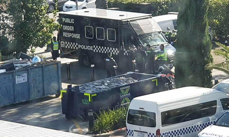 A police van outside the hotel