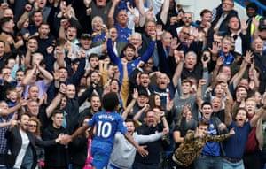 Chelsea's Willian celebrates scoring their second goal.