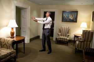The president gestures to Nancy Pelosi  in the White House