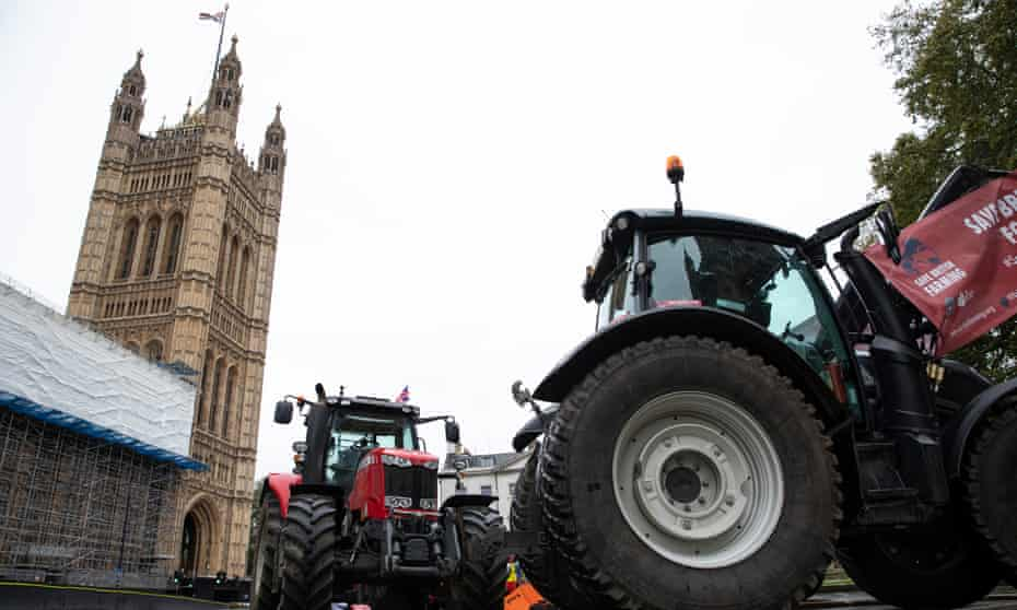 A demonstration by farmers in tractors outside the Houses of Parliament ahead of the vote.