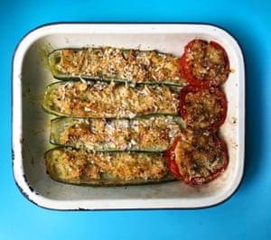 Lulu Peyraud deep-fries her courgette innards in olive oil.