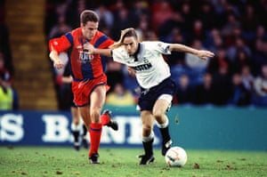Gareth Southgate attempts to dispossess Tottenham's Paul Walsh during a First Division game eight months after he made his Crystal Palace debut.