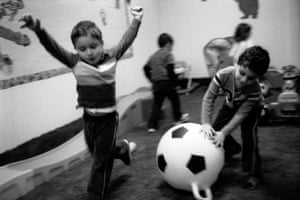 Children play during their recess at Blossom school in Orland Park, Illinois