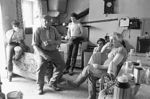 Dick French and his family watching the cup final on television, Brendon Barton, Exmoor, 1985