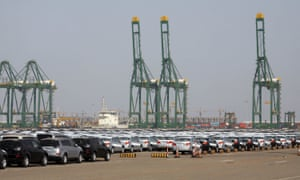 New cars parked at the port of Tianjin in 2008.