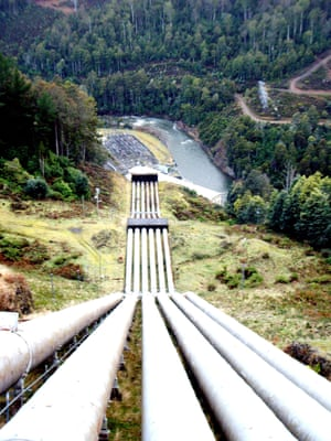 Hydro-scheme water pipes plunge into the valley of the River Nive in Tasmania.