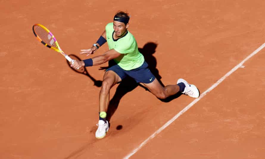 Rafael Nadal recovered from 5-3 down in the third set to win it on a tiebreak, and clinch victory.