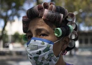 A woman wearing a homemade mask as a precaution against coronavirus in Caracas, Venezuela