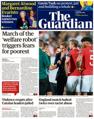 Guardian front page, Tuesday 15 October 2019