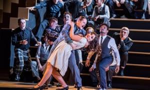 Gyula Nagy (Moralès) and Kristina Mkhitaryan (Micaëla) in Carmen by Bizet @ Royal Opera House. Directed by Barrie Kosky.