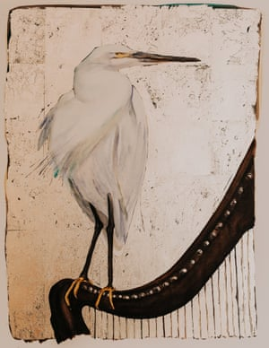 An illustration of an egret for the book The Lost Words.