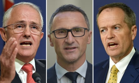 Malcolm Turnbull, Green's leader Richard Di Natale and Labor leader Bill Shorten