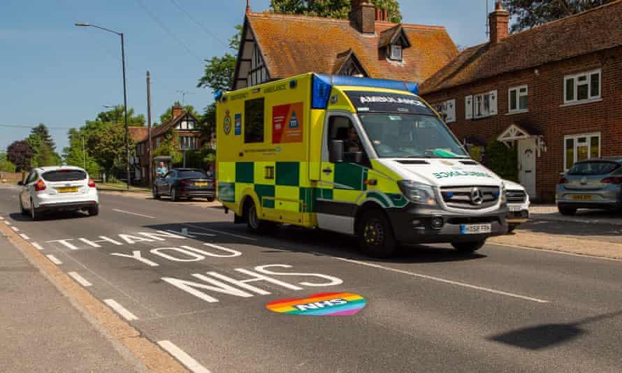 ambulance going along the road