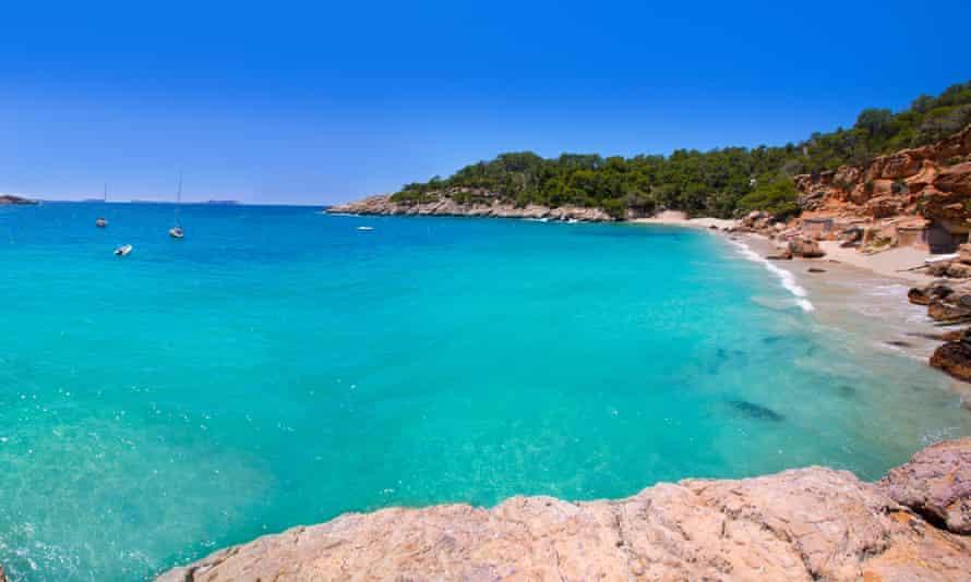 Beach and cove at Cala Saladeta, Sant Antoni de Portmany, Ibiza.