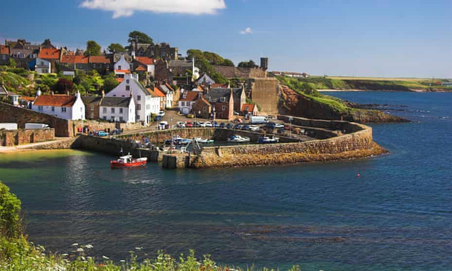 'Boats leave the harbour for the puffin and guillemot colonies': Crail, Fife.