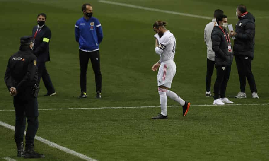 Sergio Ramos leaves the field at the end of the match.