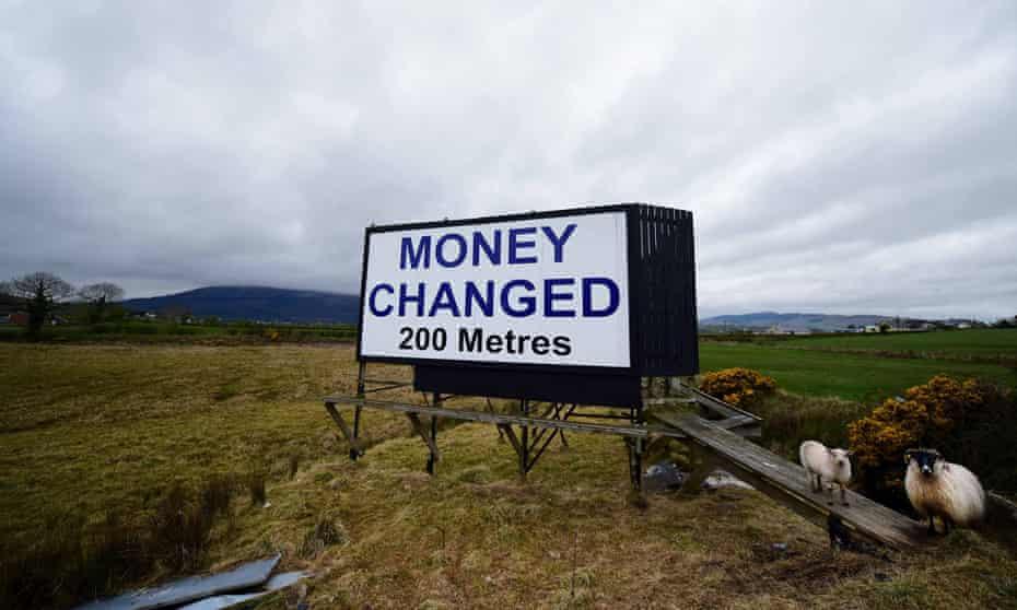 A billboard on the border between Northern Ireland and the Irish Republic.