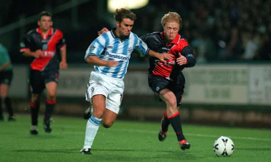 Ben Thornley, in action for Huddersfield against Blackburn in 1999, tries to get the better of Damien Duff.