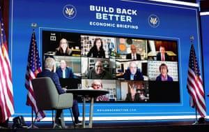 Joe Biden receives virtual briefing from his economic advisers in Wilmington, Delaware.