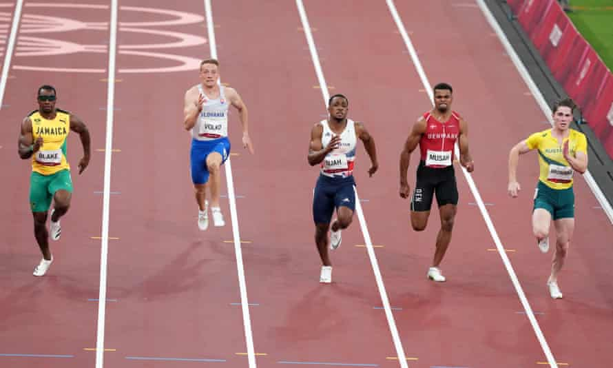 Australia's Rohan Browning leaves his competition behind in the 100m heats
