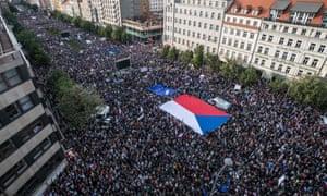 Demonstrators in Prague, Czech Republic