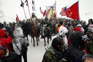 Demonstrators near Backwater Bridge just outside the Oceti Sakowin camp.