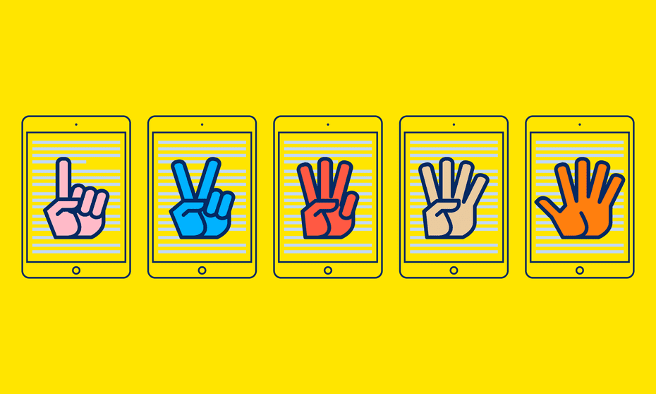 Yellow field with five illustrated hands, one finger up, two fingers up and so on
