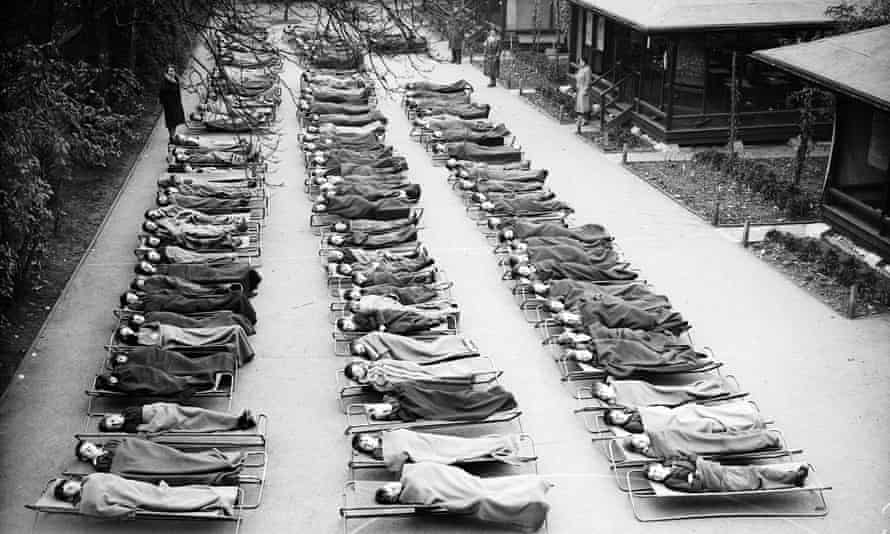 Children suffering from tuberculosis sleeping outside at Springfield House Open Air School, London