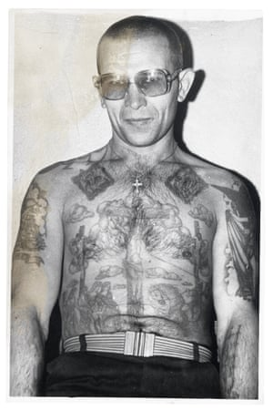 This criminal is tattooed in the traditional style