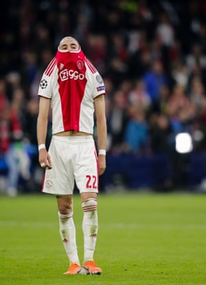 Hakim Ziyech, who went close on a number of occasions in trying to win the game for Ajax, cuts a desolate figure
