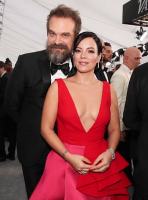 David Harbour and Lily Allen arrive