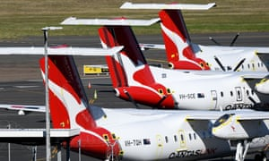 Grounded Qantas planes at Sydney airport in June 2020.