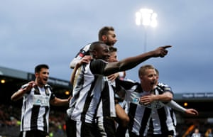 Joy for Notts County after their goal against Swansea.