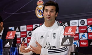Real Madrid coach Santiago Solari speaking today.