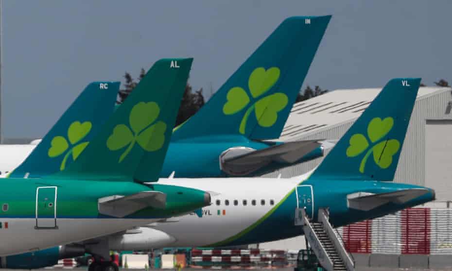 Aer Lingus planes in Dublin airport.