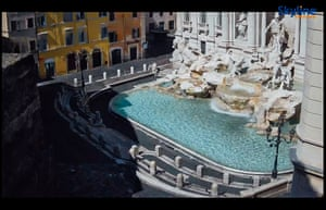 The Trevi fountain in Rome, Italy, at noon (GMT+2) on 4 April 2020