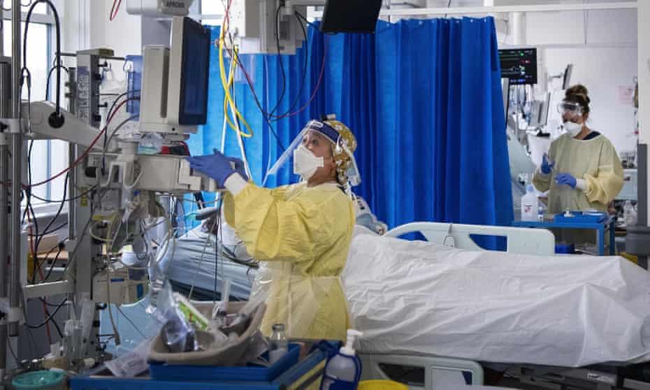Nurses in an intensive care unit in London.
