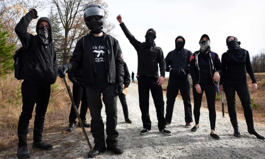 'Black bloc' anti-KKK protesters near Danville, Virginia on 3 December.