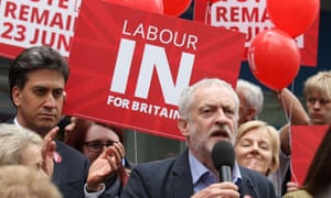 Former Labour leader Ed Miliband and current leader, Jeremy Corbyn