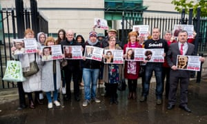 Families of those who died in the Ballymurphy massacre outside the inquest at Laganside Court in Belfast