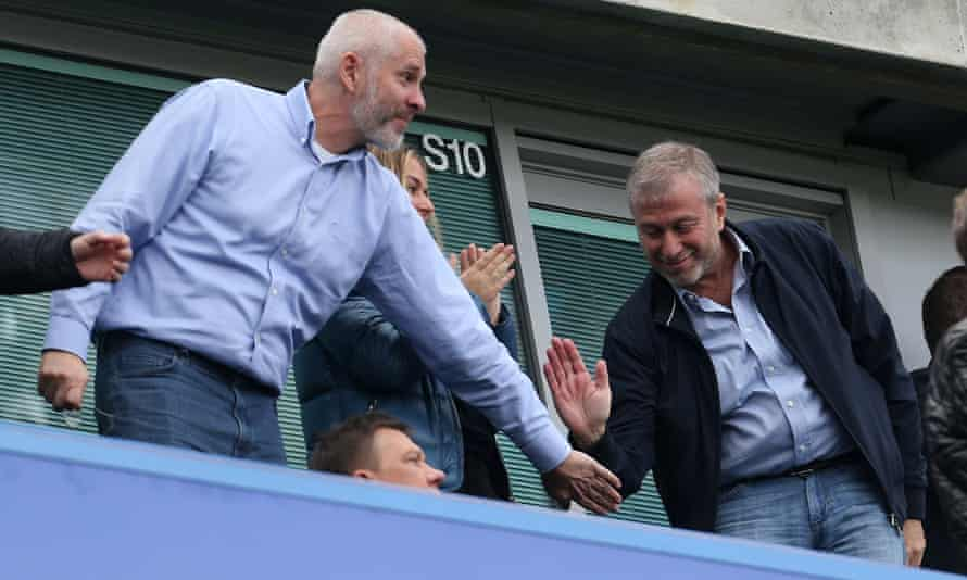 Chelsea's owner, Roman Abramovich, right, pictured last year with his fellow director Eugene Tenenbaum, who was centrally involved in executing the Vitesse takeover.