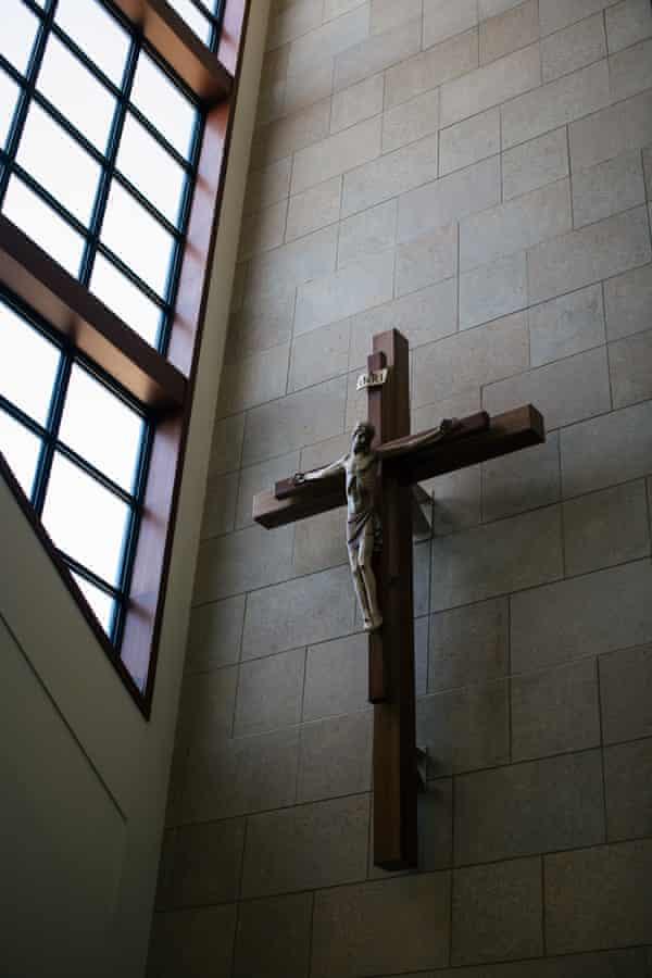 A crucifix is on display at the Saint Bartholomew Catholic Parish.