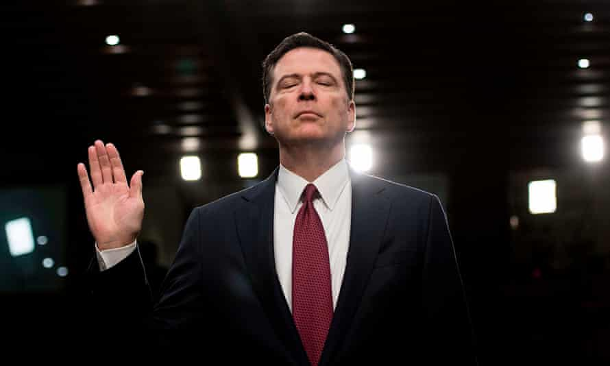 James Comey is sworn in before the Senate intelligence committee in June 2017.