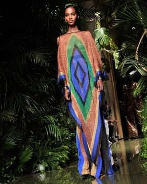 Tribal prints complemented the tropical-themed decor
