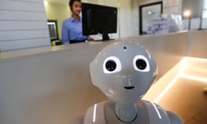 Robot Robby Pepper in Peschiera del Garda, northern Italy, is billed as Italy's first robot concierge